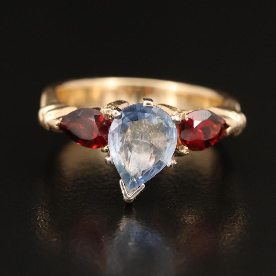 14K Sapphire and Garnet Ring