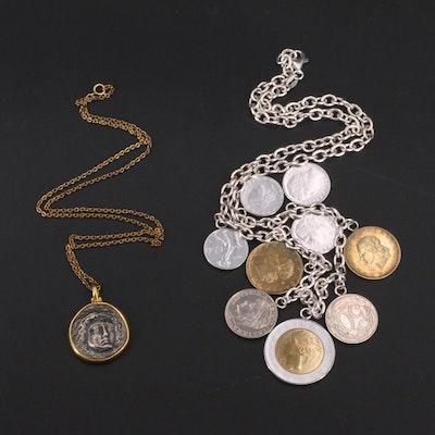 Coin Necklaces Featuring Metropolitan Museum of Art Ardent Coin Replica Pendant