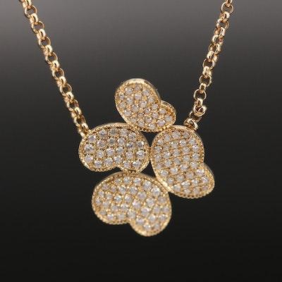 18K Pavé Diamond Butterfly Duo Necklace