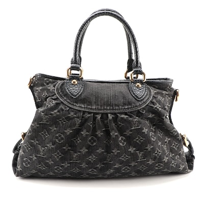 Louis Vuitton Neo Cabby MM Two-Way Bag in Monogram Noir Denim and Leather