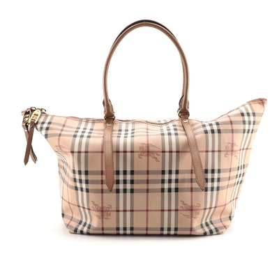 """Burberry Tote in """"Haymarket Check"""" Coated Canvas and Brown Leather"""