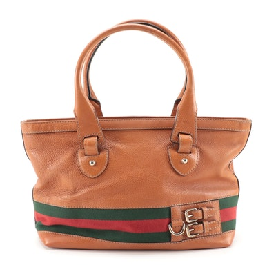 Gucci Medium Heritage Tote in Light Brown Pebbled Leather with Web Stripe