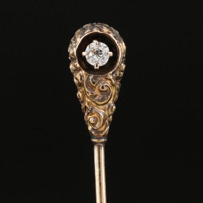 Victorian Enos Richardson & Co. 14K Diamond Stick Pin