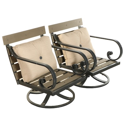 Pair of Metal and Wood Look Resin Swivel Patio Chairs