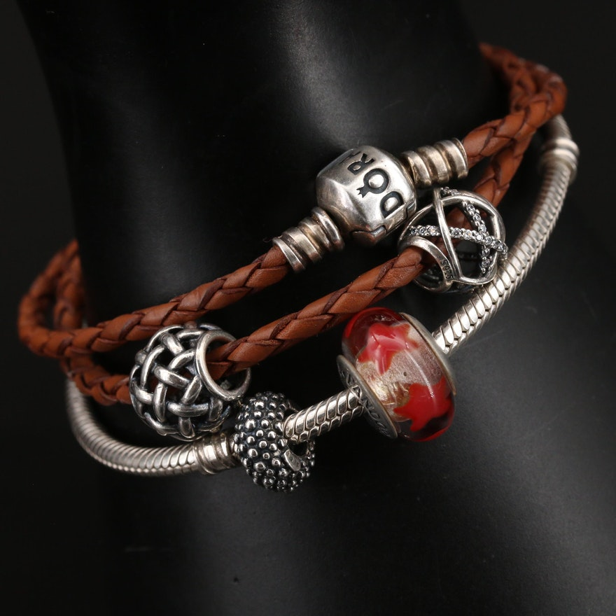 Pandora Sterling Murano Glass Bracelet with Leather Double Wrap Bracelet
