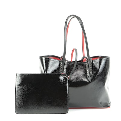 Christian Louboutin Studded Black Patent Leather Tote with Signature Red Lining