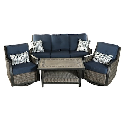 Agio Resin Wicker Upholstered Four-Piece Patio Lounge Set
