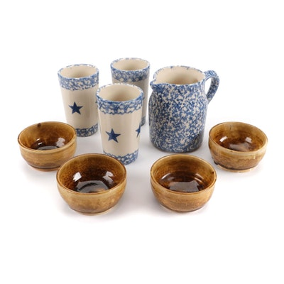 """Roseville """"Spongeware"""" Ceramic Tumblers and Pitcher with Earthenware Bowls"""