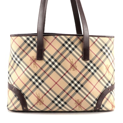 """Burberry """"Haymarket Check"""" Coated Canvas and Brown Leather Zip Tote"""