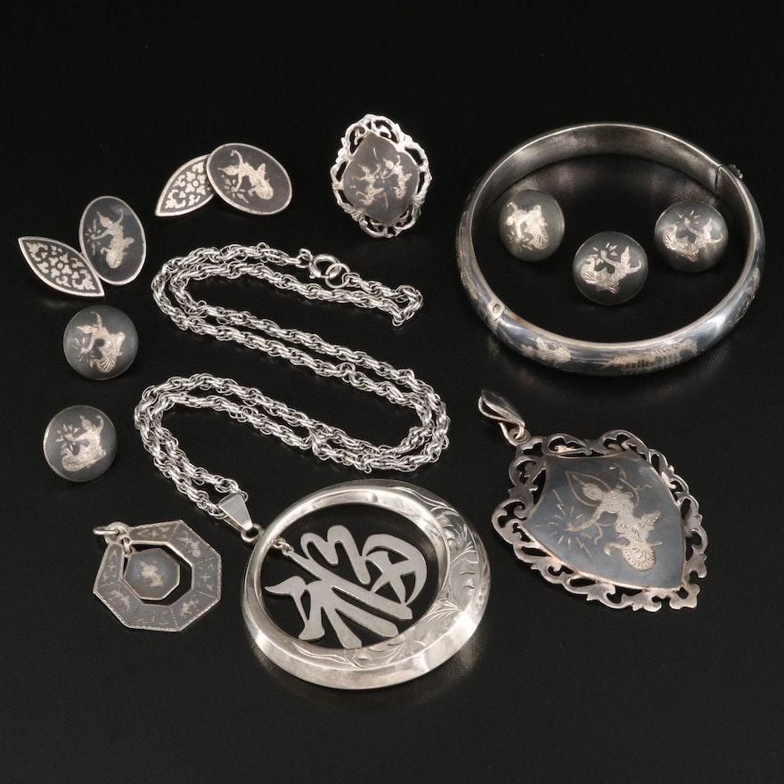 Thai Niello Sterling Silver Jewelry