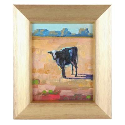 """William Hawkins Oil Painting """"On the Range,"""" 2021"""