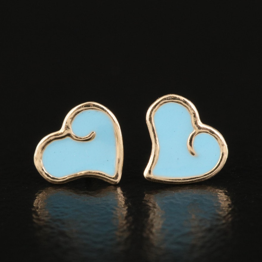 14K Enamel Heart Stud Earrings