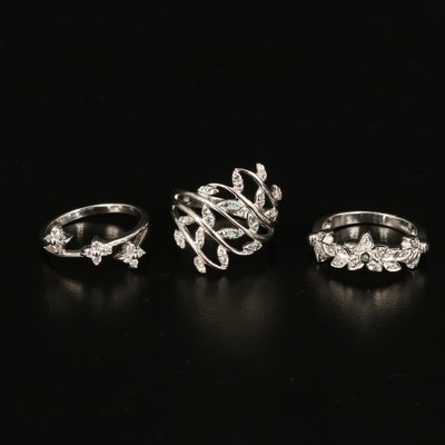 Sterling Leaf Rings with Chrysoberyl, Zircon and Diamond