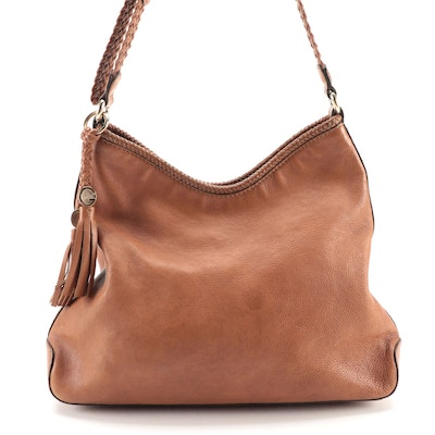Gucci Marrakech Brown Grained Leather Hobo Bag with Braided Trim