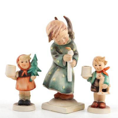 "Goebel ""Heavenly Angel"" Porcelain Hummel Figurine and Candle Sticks with Thimble"