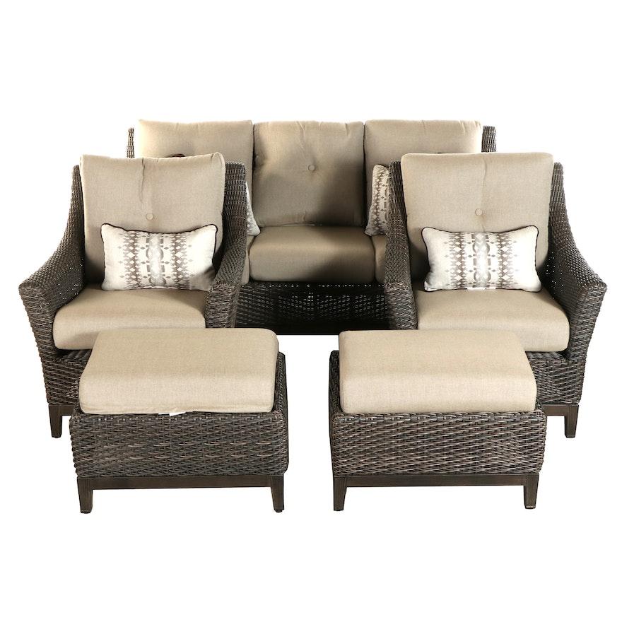 Agio Five-Piece Resin Wicker Patio Lounge Set