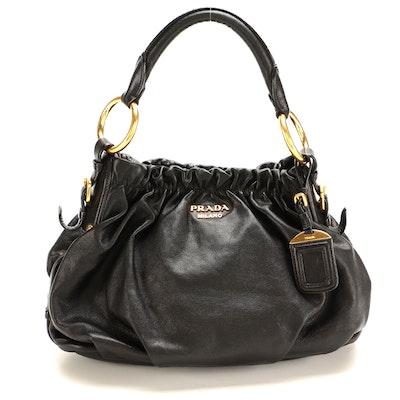 Prada Black Gathered and Pleated Leather Handbag