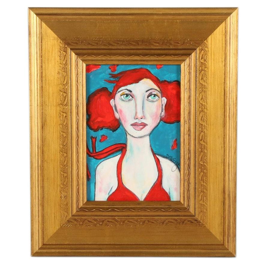 "Deborah McEvoy Acrylic Painting ""Don't Be Afraid of Change,"" 21st Century"