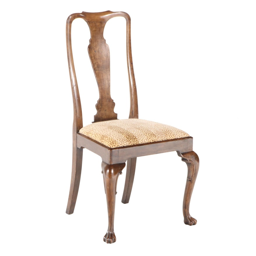 Queen Anne Style Mahogany Side Chair in Gros-Point Animal Print
