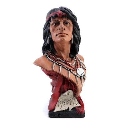Painted Plaster Bust of Chief Hawata