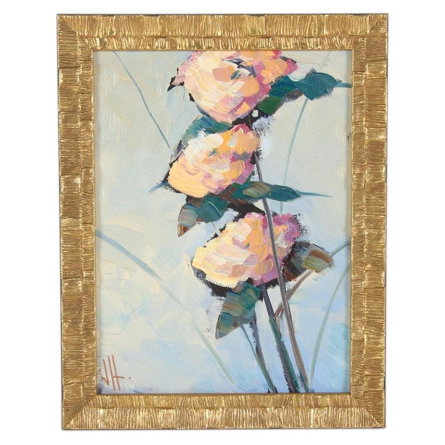 William Hawkins Floral Still Life Oil Painting, 21st Century
