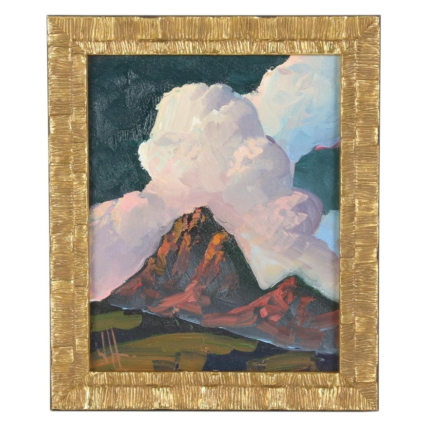 William Hawkins Oil Painting of Sunset Over Mountain, 21st Century