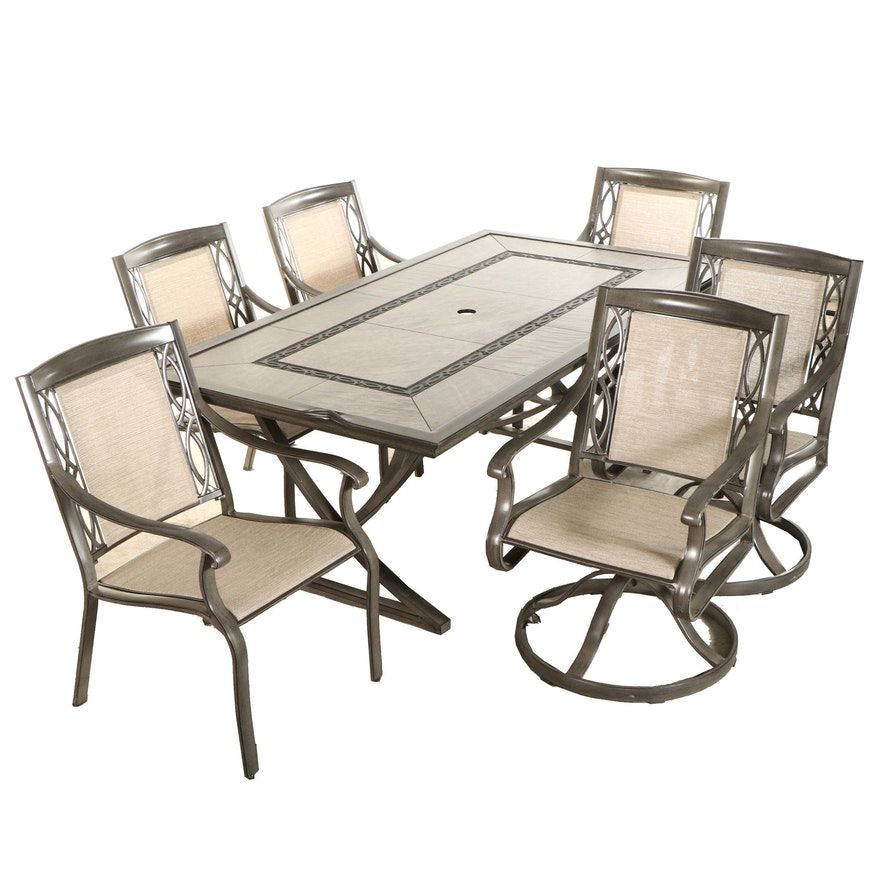 Agio Seven-Piece Wood Look Aluminum Patio Dining Set