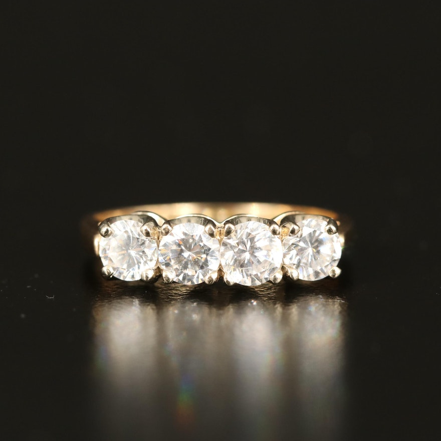 14K Cubic Zirconia Ring with Trellis Setting