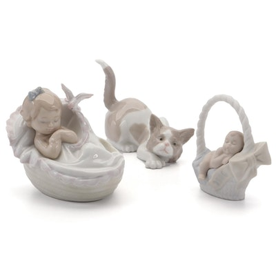 """Lladró """"Attentive Cat,""""""""Comforting Dreams,"""" and """"Born in 2006"""" Figurines"""