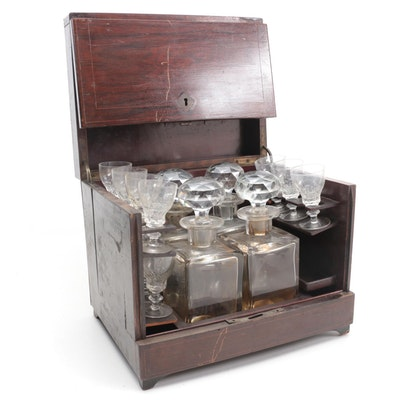 Oak Tantalus with Theresienthal Cordial Glasses and Glass Decanters
