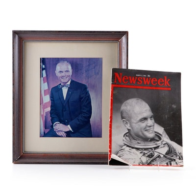 1962 Newsweek Magazine and Framed Autographed Picture Featuring John Glenn