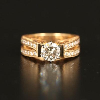 18K 1.28 CTW Diamond Textured Ring