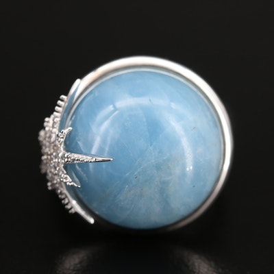 "Eva LaRue ""Spirit Star"" Sterling Aquamarine and Zircon Ring"