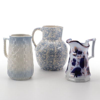 Staffordshire Flow Blue Jug with Luster Accents and Other American Pitchers