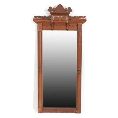 Victorian Eastlake Walnut Pier Mirror, Late 19th Century