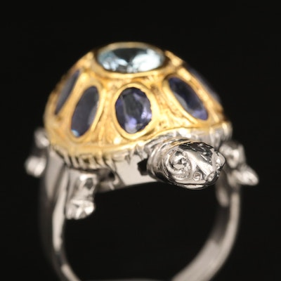 Sterling Aquamarine and Iolite Articulated Turtle Ring