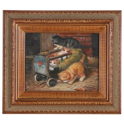 Oil Painting of Playing Kittens, Circa 2000