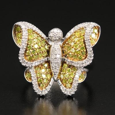 Sterling Pavé Diamond Butterfly Ring