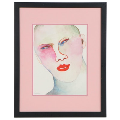 Abstract Portrait Watercolor Painting