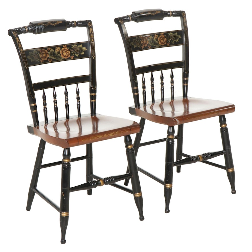 Pair of L. Hitchcock Stencil-Painted Maple Side Chairs, Late 20th Century