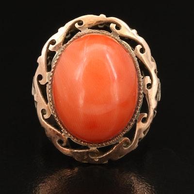 Vintage 14K Oval Coral Cabochon Ring
