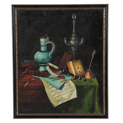 R. Choi Still Life Oil Painting, Mid-20th Century