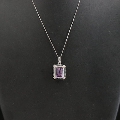 Sterling Amethyst Pendant Necklace with Double Diamond Halo