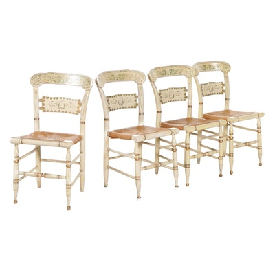 """Four Ethan Allen """"Button Back Hitchcock"""" Painted Side Chairs with Cord Seats"""