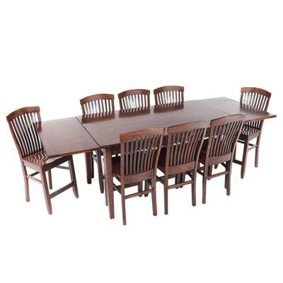 Nine-Piece Walnut-Stained Wood Bar Height Dining Set
