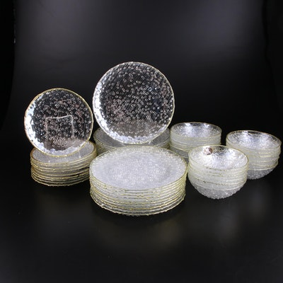 Akcam Turkish Handmade Artistic Accents Clear Bubble Glass Dinnerware
