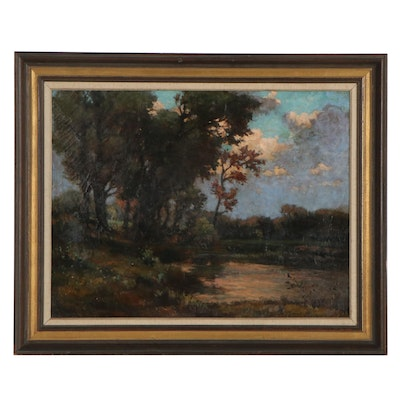 Tonalist Landscape Oil Painting of Forest Lake, Circa 1900