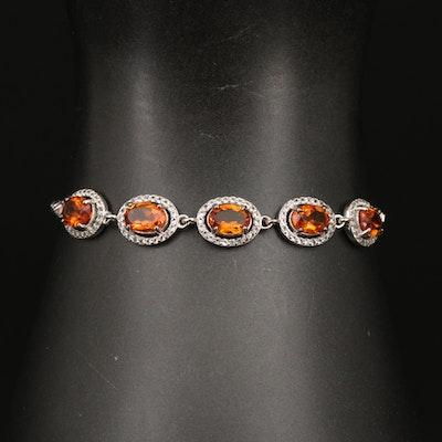 Sterling Silver, Citrine and Topaz Bolo Bracelet