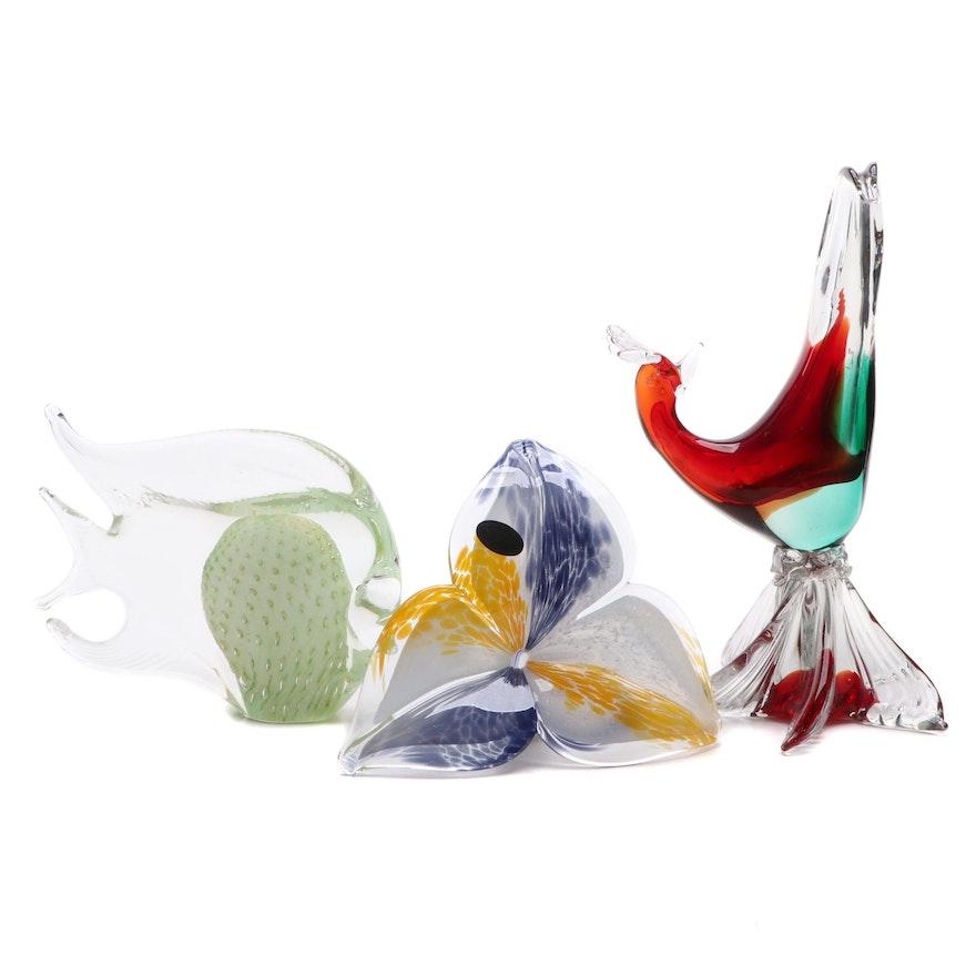 Murano Art Glass Bird, Fish, and Flower, Mid to Late 20th Century