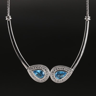 Sterling Swiss Blue and White Topaz Double Teardrop Necklace